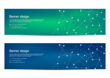 Technological and scientific banners with structure of molecular particles and atom. Polygonal abstract background. Vector illustration.