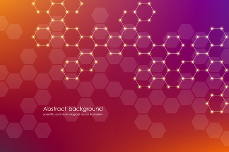 Abstract hexagonal molecule background.