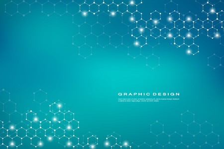Abstract hexagonal molecule background, genetic and chemical compounds, scientific or technological concept vector illustration