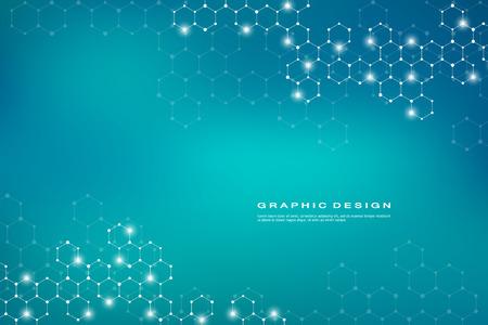 Fondo abstracto de molécula hexagonal, compuestos genéticos y químicos, ilustración vectorial concepto científico o tecnológico
