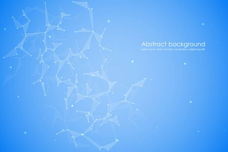 connection connections: Structure of molecular particles and atom, polygonal abstract background, technology and science concept, vector illustration.