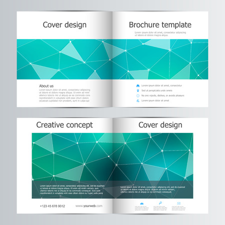 blank magazine: Square brochure template with structure of molecular particles and atom. Polygonal abstract background. Medicine, science and technology concept. Vector illustration. Illustration