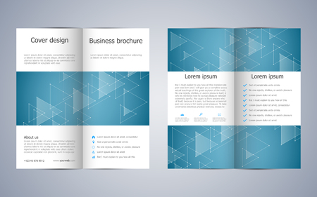 blank magazine: Bi-fold business brochure template with triangles abstract background. Geometric graphics and connected lines with dots. Medical, technological and scientific concept. Vector illustration. Illustration