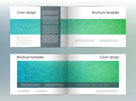 blank magazine: Rectangle brochure template layout, cover, annual report, magazine in A4 size with molecular background. Vector illustration Illustration