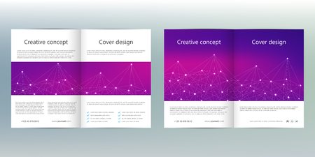blank magazine: Bi-fold business brochure template with abstract background. Geometric graphics and connected lines with dots. Medical, technological and scientific concept. Vector illustration.