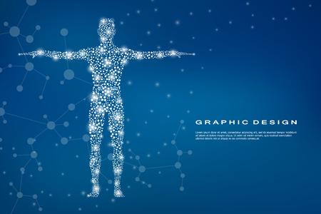 Corps humain abstrait avec des molécules d'ADN. Concept de médecine, de science et de technologie. Illustration vectorielle Vecteurs