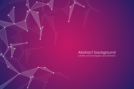 Structure of molecular particles and atom, polygonal abstract background, technology and science concept, vector illustration.