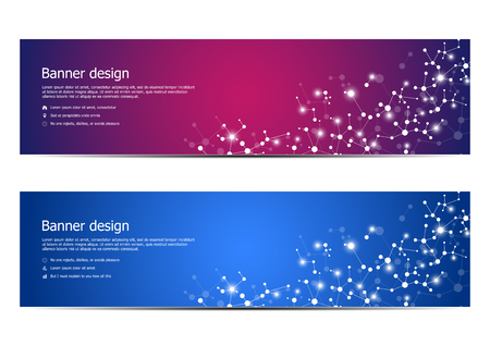Abstract banner design, dna molecule structure background. Geometric graphics and connected lines with dots. Scientific and technological concept, vector illustration.