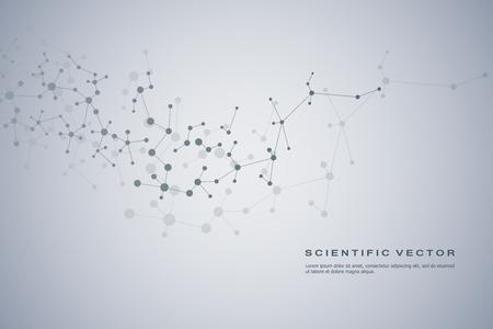 O fundo abstrato da molécula, compostos genéticos e químicos, conectou linhas com os pontos, conceito médico, tecnologico e científico, ilustração do vetor.