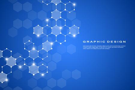 Fondo abstracto de molécula hexagonal, sistema de compuestos genéticos y químicos. Gráficos geométricos y líneas conectadas con puntos. Concepto científico y tecnológico, ilustración vectorial.