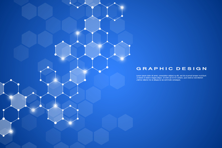 Résumé de fond molécule hexagonale, système de composés génétiques et chimiques. Graphiques géométriques et lignes connectées avec des points. Concept scientifique et technologique, illustration vectorielle.