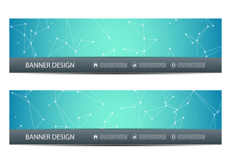 Technological and scientific banners with structure of molecular particles and atom. Polygonal abstract background. Vector illustration Ilustração
