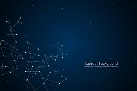 点と線、分子、原子、多角形線形デジタル テクスチャ、技術的及び科学的概念ベクトル図で抽象的な未来的な背景  イラスト・ベクター素材