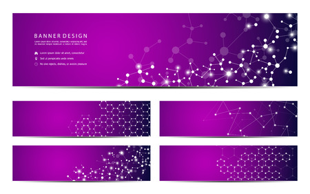 Set of abstract banner design, dna molecule structure background. Geometric graphics and connected lines with dots. Scientific and technological concept, vector illustration Ilustração
