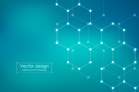 Abstract hexagonal molecule background, genetic and chemical compounds system. Geometric graphics and connected lines with dots. Scientific and technological concept, vector illustration Illustration