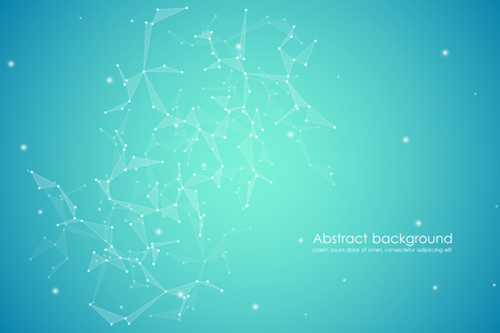 Abstract futuristic background with dots and lines, molecular particles and atoms, polygonal linear digital texture, technological and scientific concept, vector illustration.