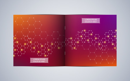 Bi fold square brochure template layout, cover, annual report. Minimalist geometric abstract background. Vector illustration Illustration