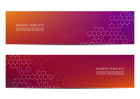 Technological and scientific banners with structure of molecular particles and atom. Polygonal abstract background. Vector illustration Illustration