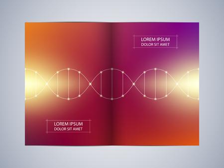 Bi-fold brochure design with DNA molecule design vector illustration.