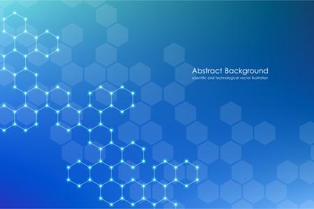 Abstraktes sechseckiges Hintergrund-, Wissenschafts- und Technologiekonzept, Vektorillustration.