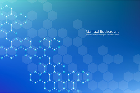 Abstract hexagonal background, science and technology concept, vector illustration.