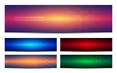 Set of abstract banner design vectors Vettoriali
