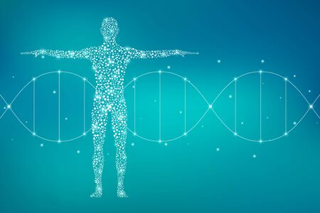 Abstract human body with molecules DNA. Medicine, science and technology concept. Illustration.
