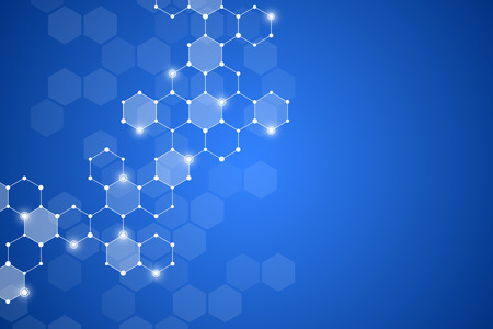 Abstract hexagonal molecule background, genetic and chemical compounds system. Geometric graphics and connected lines with dots. Scientific and technological concept, illustration.