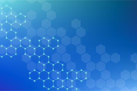 Abstract zeshoekig molecuul achtergrond, genetische en chemische verbindingen systeem. Geometrische afbeeldingen en verbonden lijnen met stippen. Wetenschappelijk en technologisch concept, illustratie. Stockfoto