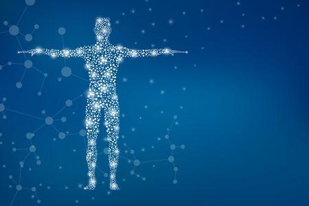 Abstrakter menschlicher Körper mit Molekülen DNA. Medizin-, Wissenschafts- und Technologiekonzept. Illustration. Standard-Bild