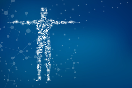 Streszczenie ludzkiego ciała z DNA cząsteczek. Koncepcja medycyny, nauki i technologii. Ilustracja. Zdjęcie Seryjne
