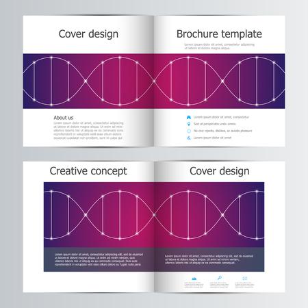 Bi fold square brochure template with dna molecule pattern.