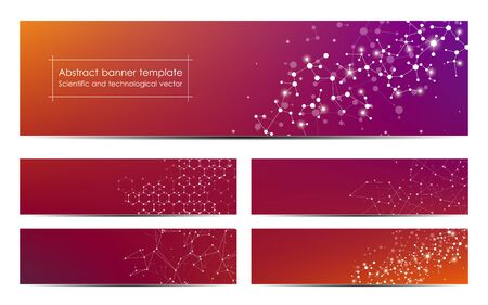 Set of abstract banner design, dna molecule structure background. Geometric graphics and connected lines with dots. Scientific and technological concept, vector illustration Illustration