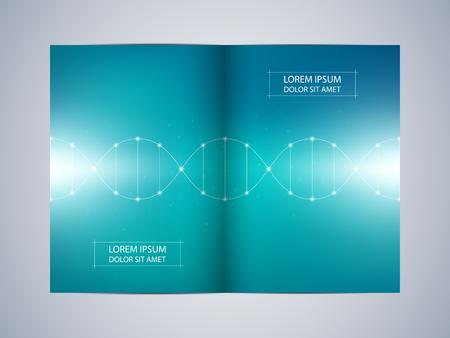 Bi-fold brochure design with DNA molecule background, vector illustration