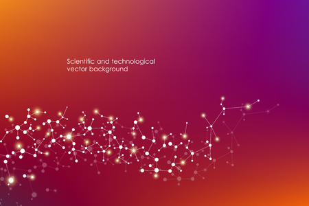 Abstract molecule background, genetic and chemical compounds, connected lines with dots, medical, technological and scientific concept, vector illustration