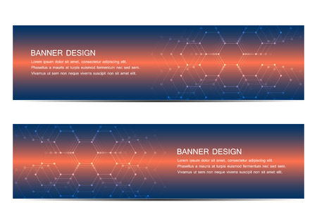 Abstract banner design, with futuristic hexagonal background. Geometric polygonal graphics. Scientific and technological concept, vector illustration