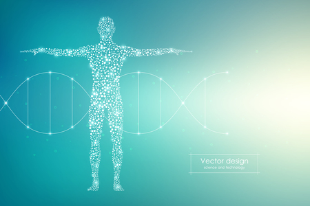 Vector human body with molecules DNA. Medicine, science and technology concept.