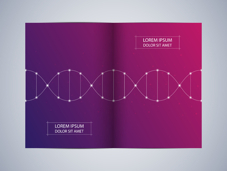 Bi-fold brochure design with DNA molecule background, vector illustration.