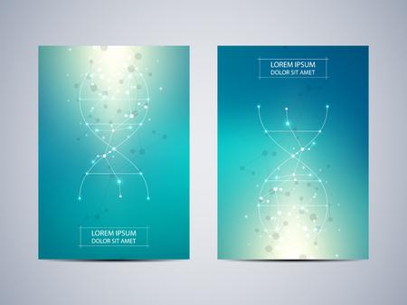 Dekking of afficheontwerp met moleculeachtergrond, wetenschappelijk en technologisch concept, vectorillustratie