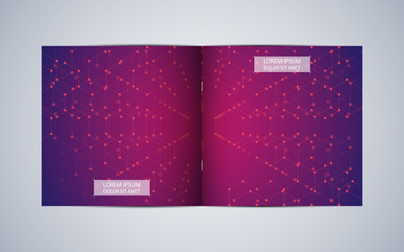 Bi fold square brochure template layout, cover, annual report. Minimalist geometric abstract background. Vector illustration.