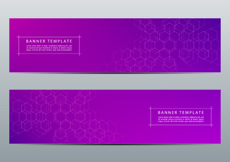 Technological and scientific banners with hexagonal molecule dna. Polygonal abstract background. Science, technology or medical concept. Vector illustration