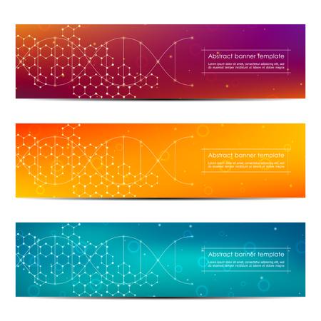 Set of abstract banner design, dna molecule structure background. Ilustração