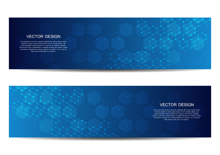 Technological and scientific banners with hexagonal molecule dna. Polygonal abstract background. Science, technology or medical concept. Vector illustration.