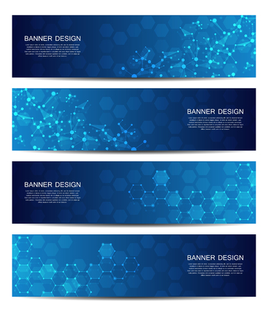 Science and technology banners. DNA molecule structure background. Scientific and technological concept. Vector illustration. Иллюстрация