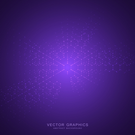 Abstract technological and scientific background with hexagons. Structure molecule and communication. Science, technology and medical concept. Vector illustration