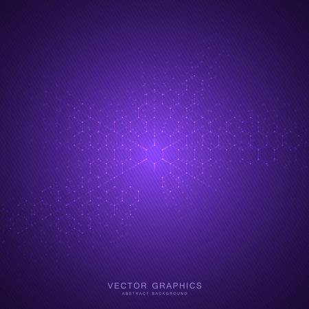 Abstrakter technologischer und wissenschaftlicher Hintergrund mit Hexagonen. Strukturmolekül und Kommunikation. Wissenschaft, Technologie und medizinisches Konzept. Vektor-illustration