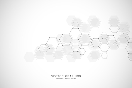 Geometric abstract background with hexagons. Structure molecule and communication. Science, technology and medical concept. Vector illustration Ilustrace