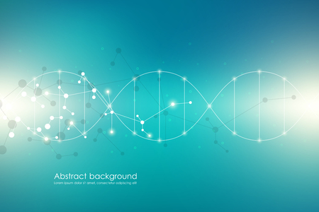 Vector molecule background, genetic and chemical compounds. Abstract connected lines with dots, medical, technological and scientific concept.