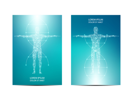 Cover or poster design with human body background. Scientific and technological concept. Vector illustration.