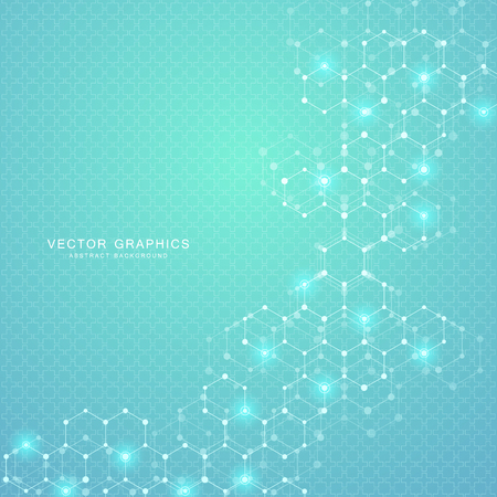 Geometric abstract background with hexagons. Structure molecule and communication. Science, technology and medical concept. Vector illustration Çizim
